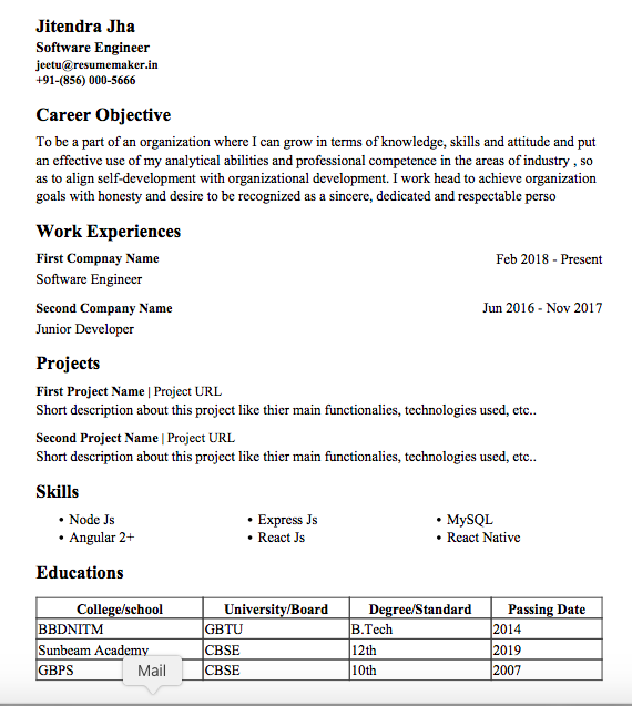 Resume Templates Experienced Professionals Free Resumemaker In