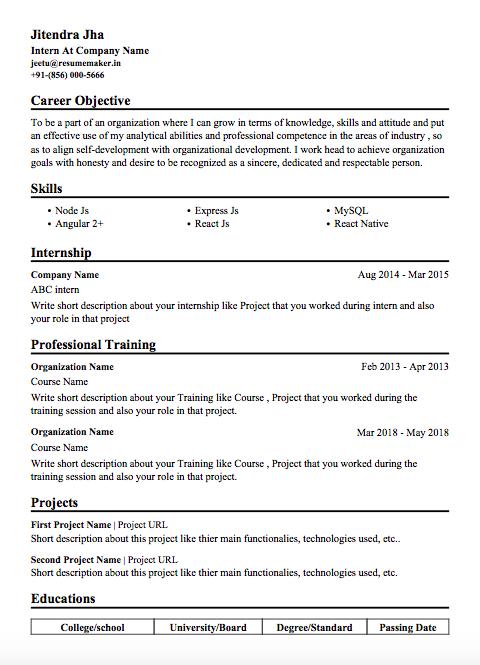 Resume Templates for Freshers Free Resumemaker.in