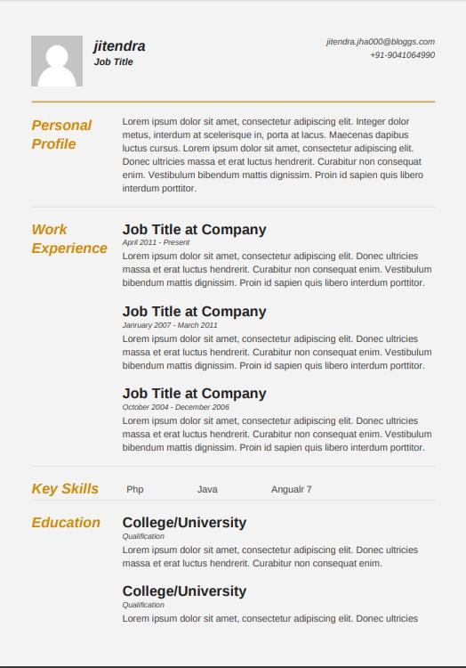 Resume Templates for Freshers Free|Resumemaker.in